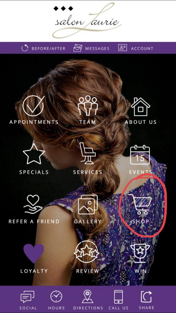 Location of Shop Icon in App